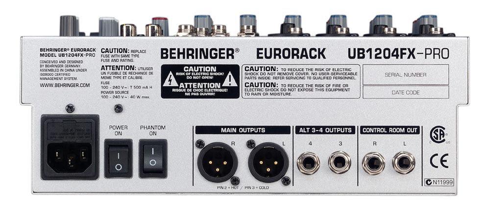 behringer eurorack ub1204fx pro manual