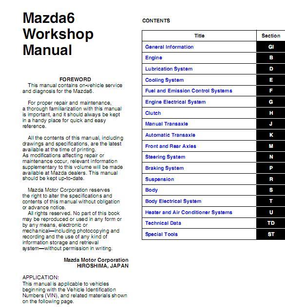 2014 mazda 6 owners manual