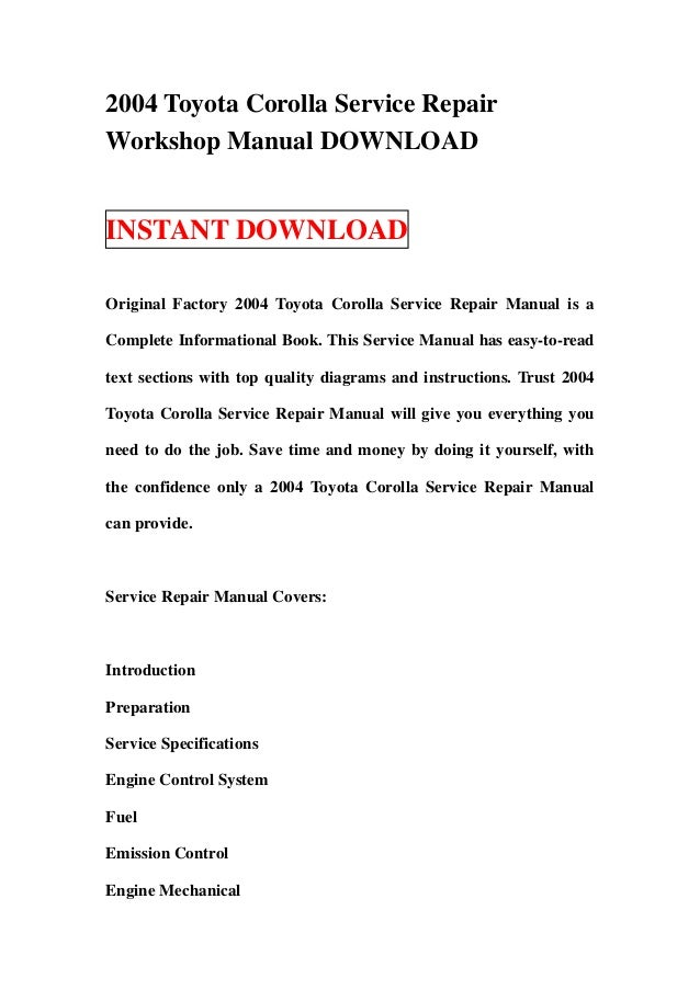 2000 toyota corolla service manual