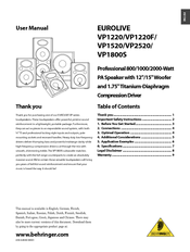 behringer eurolive b112d user manual