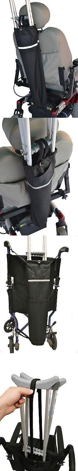crutch holder for manual wheelchair