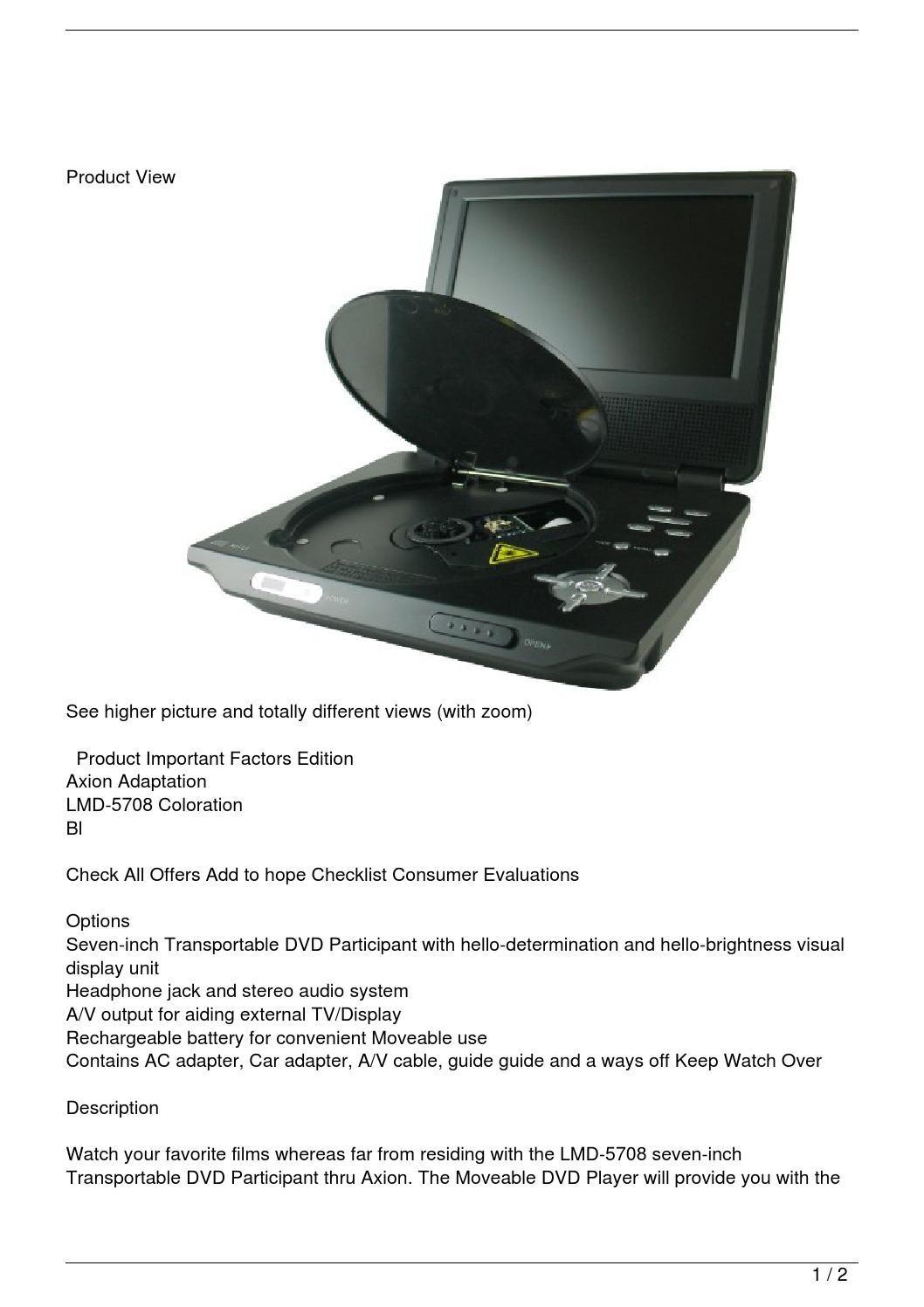 axion portable dvd player manual