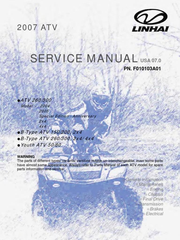 linhai 400 utv service manual