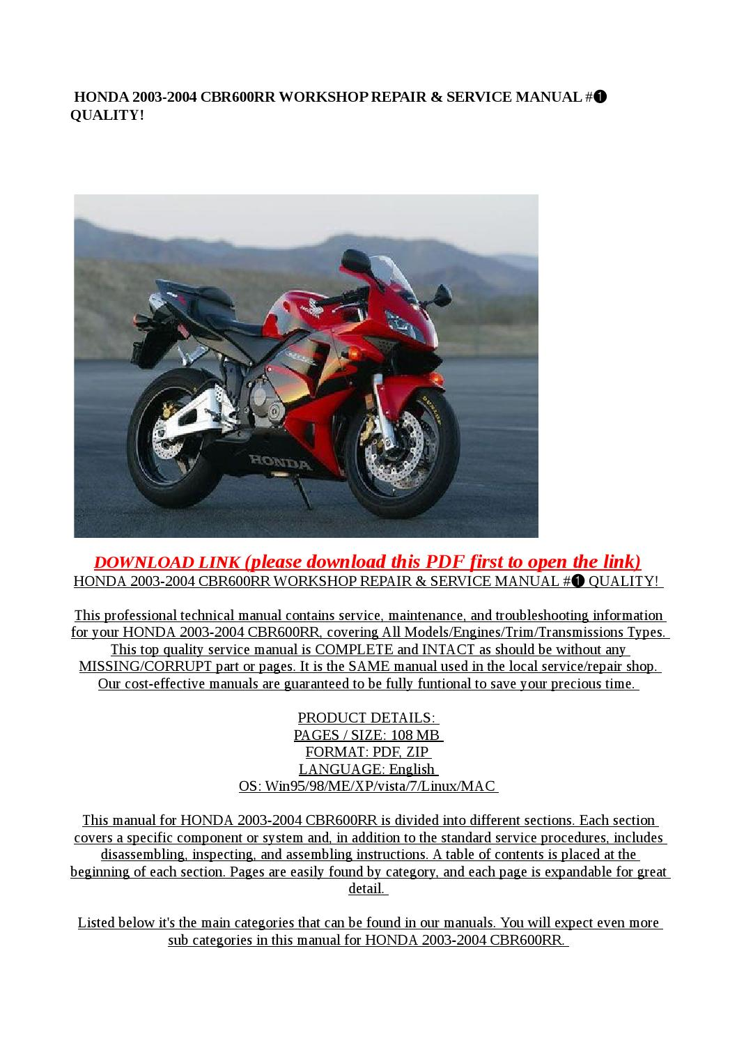 2010 honda cbr600rr service manual