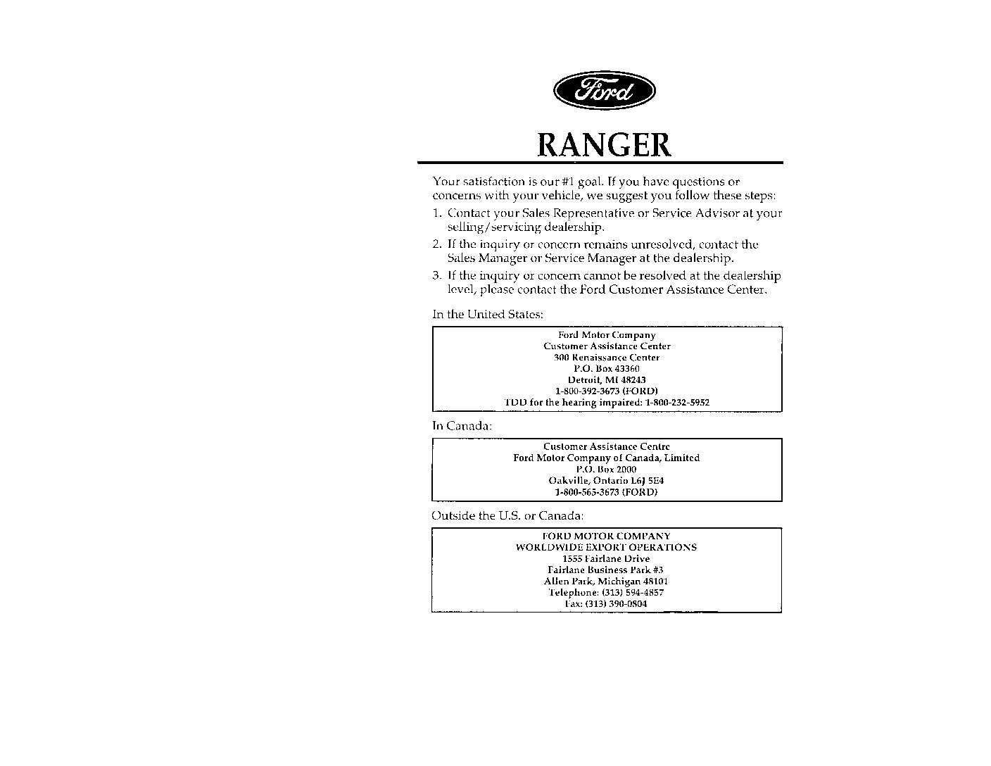 2004 ford ranger owners manual
