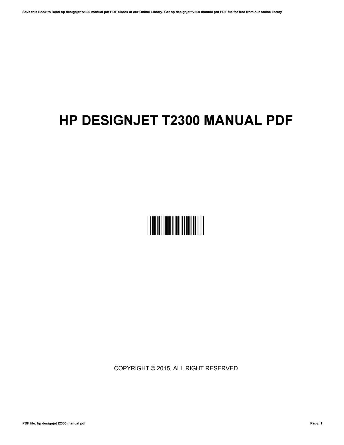 hp designjet t2300 service manual