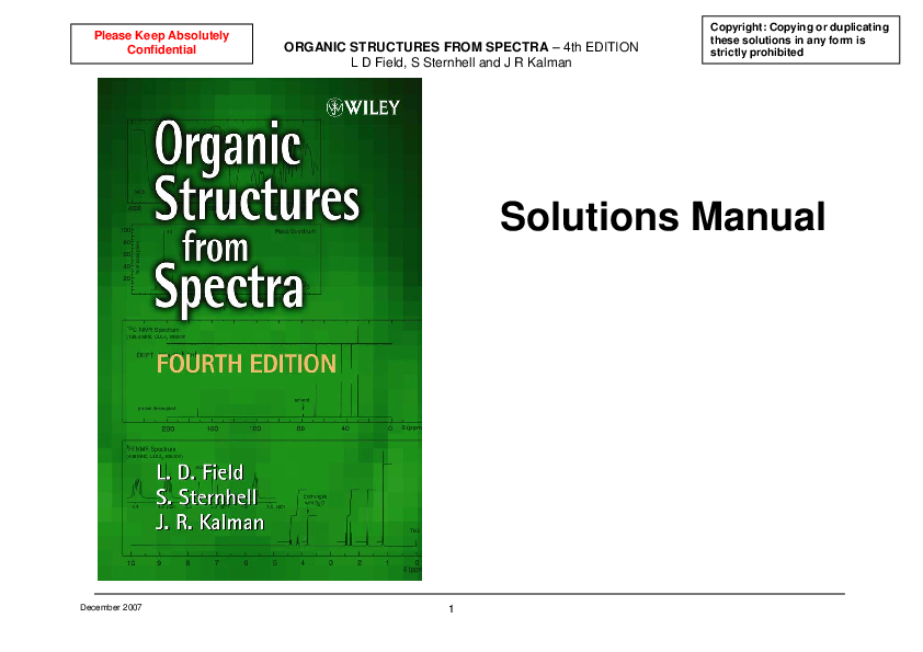 organic structures from spectra 3rd edition solutions manual