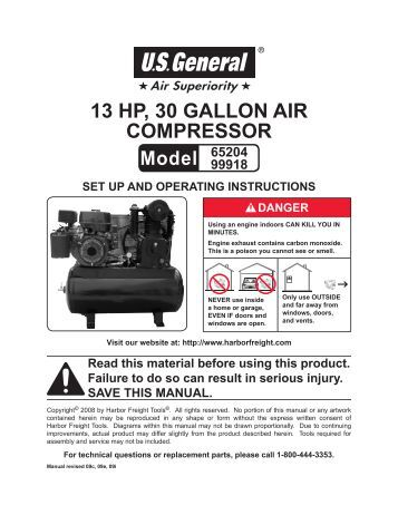 taurus 2hp air compressor manual