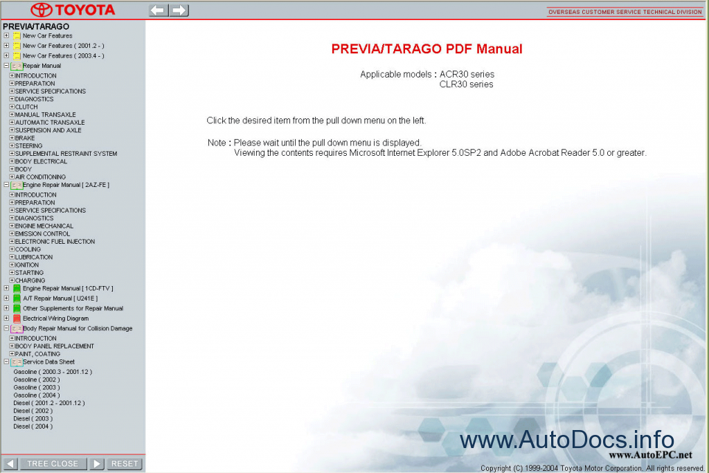 toyota previa workshop manual pdf