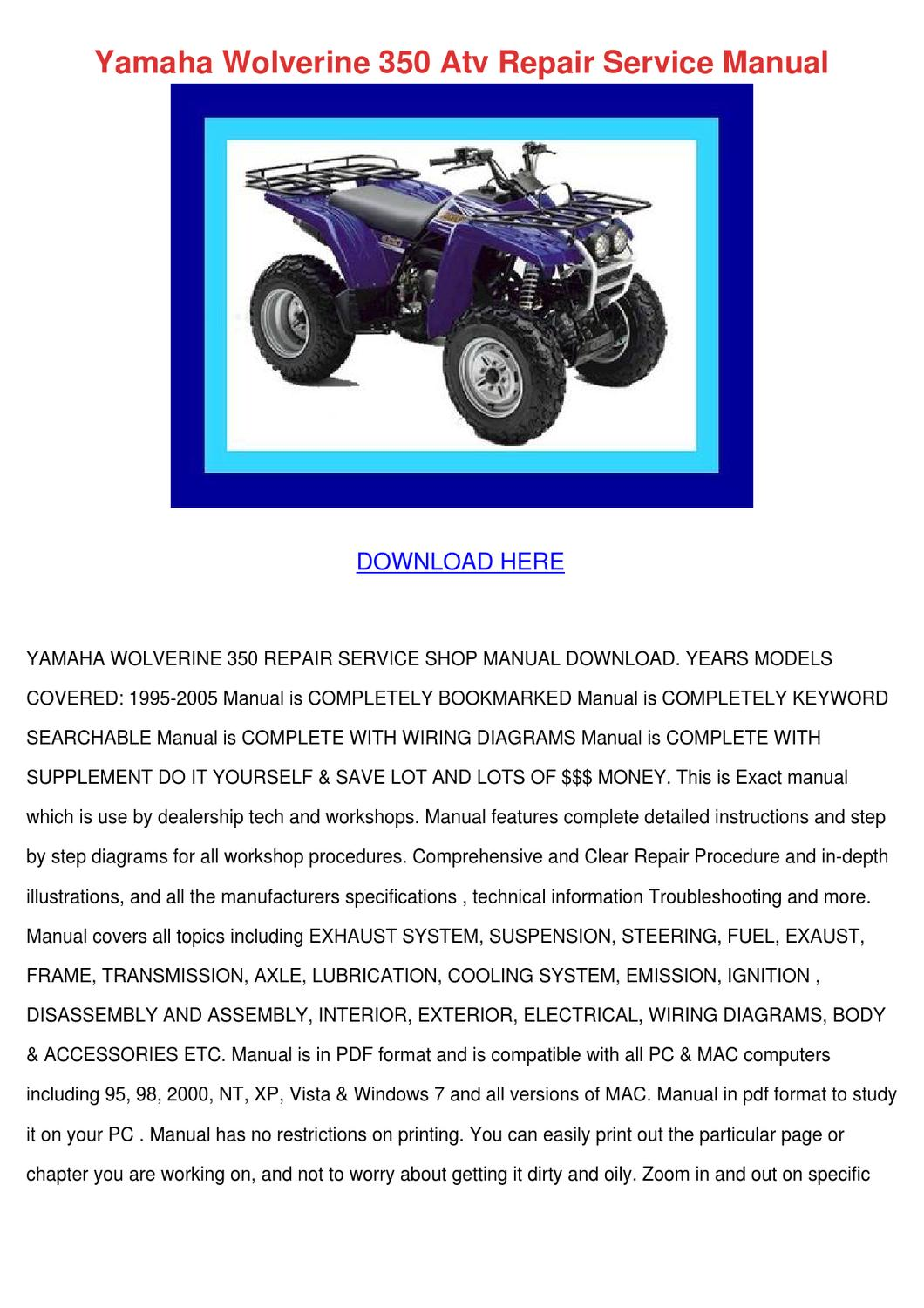 yamaha wolverine 350 repair manual