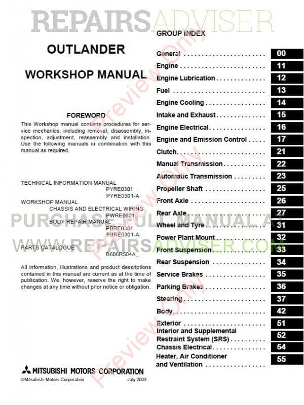 mitsubishi pajero workshop manual pdf download