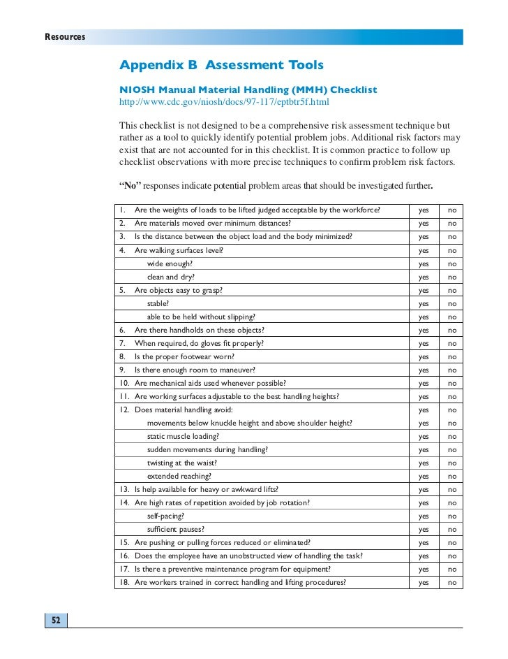 manual handling risk assessment checklist