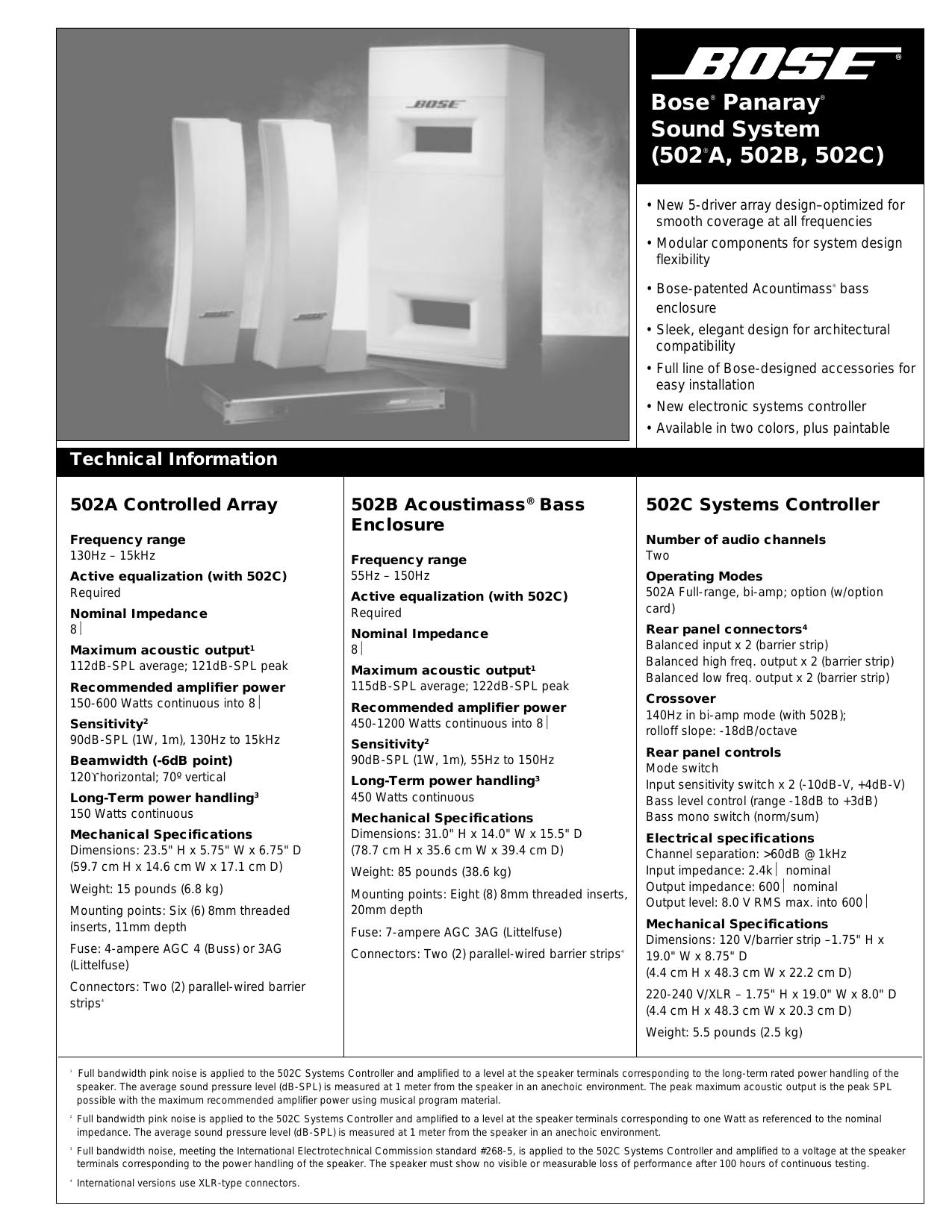 bose 502c system controller manual