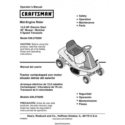 craftsman riding mower manual lt2000
