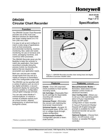 honeywell truline chart recorder manual