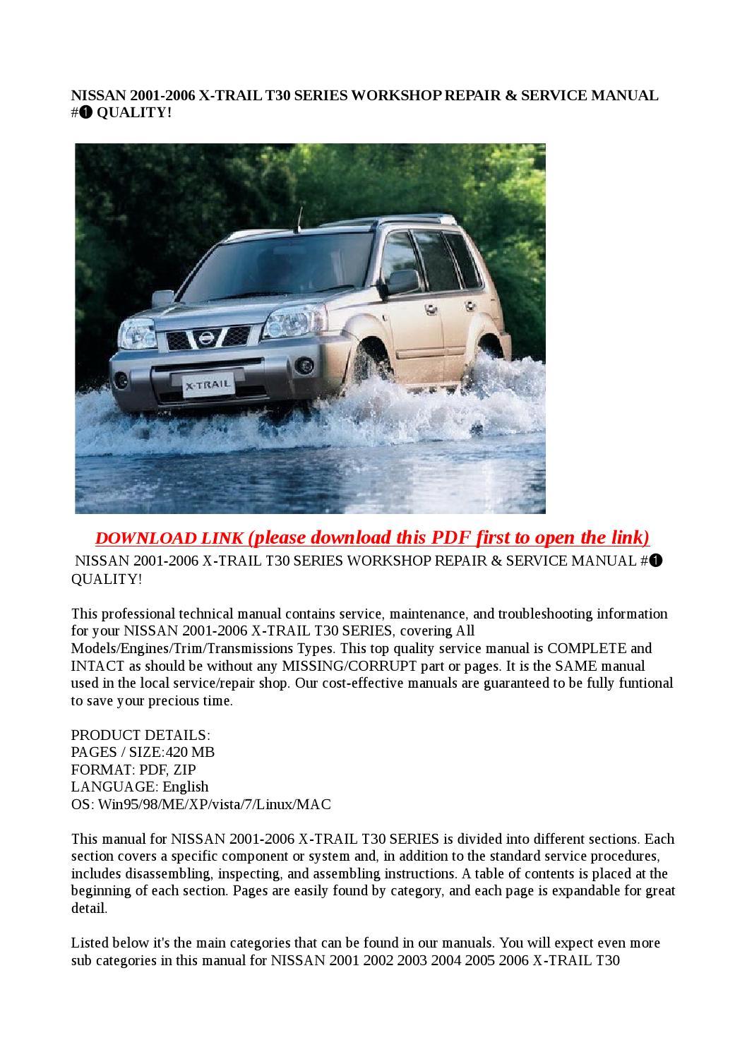 nissan x trail t30 service manual