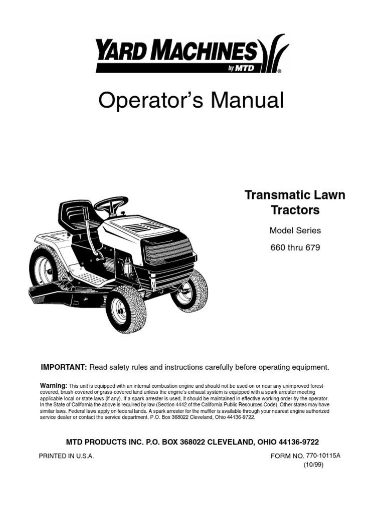 yard machine lawn tractor manual